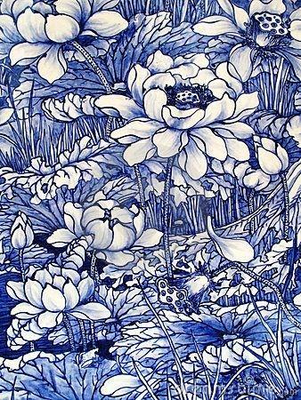 Close -up from an Antique cobalt blue floral pattern Japanese porcelain tile panel dated 1875