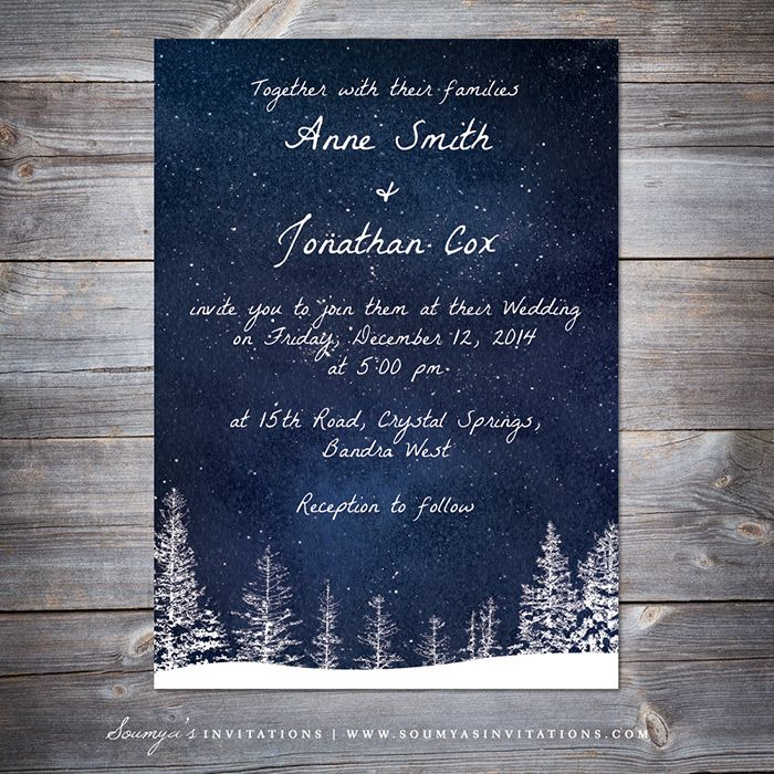Winter Wedding Invitation, Navy Blue Starry Night Sky Wedding Invitation, Winter Wonderland Wedding Invitation, Star Winter Wedding, Snow Winter Wedding by Soumya's Invitations
