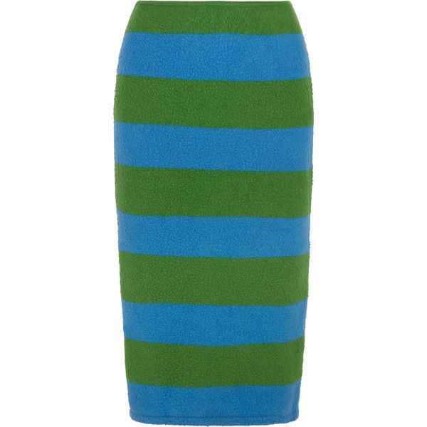 Max Mara Striped slub stretch wool-blend pencil skirt (£128) ❤ liked on Polyvore featuring skirts, bright green, below knee length pencil skirts, below the knee pencil skirts, stripe pencil skirt, green pencil skirt and green striped skirt