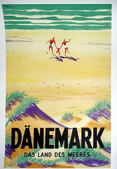 Denmark vintage beach travel poster
