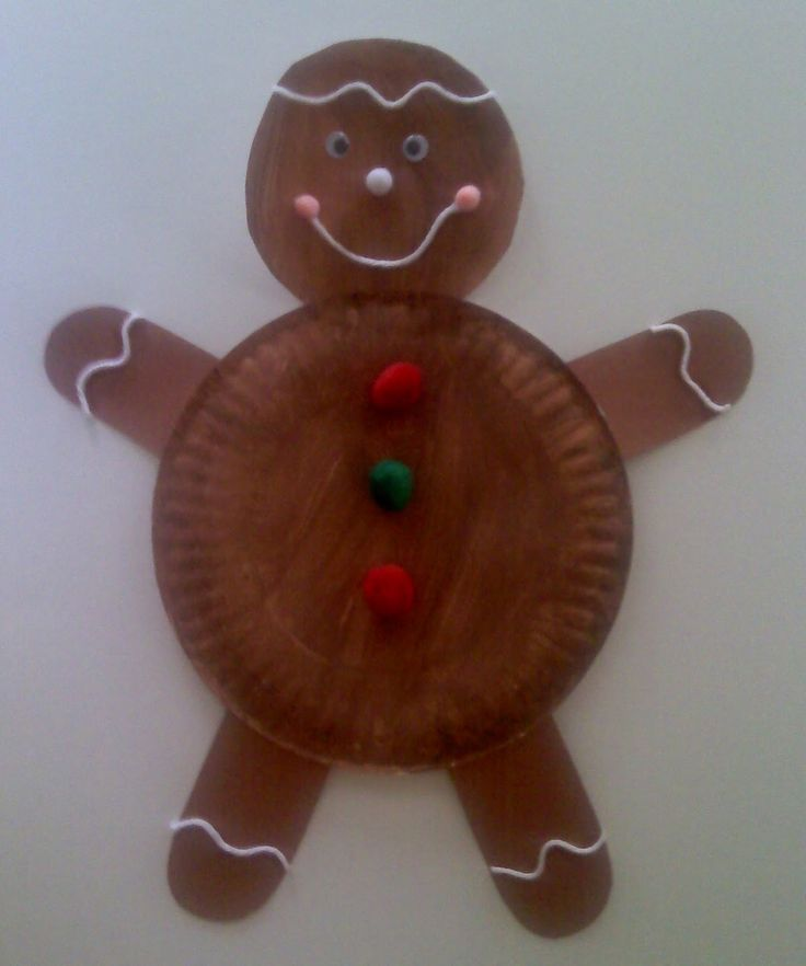 Gingerbread Man - paper plate craft - winter art projects for preschoolers