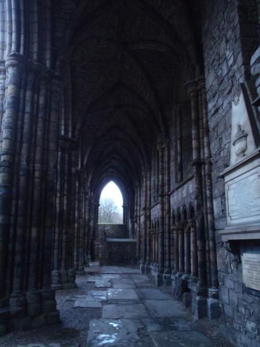 The ruins of Holyrood Abbey in Edinburgh Scotland.