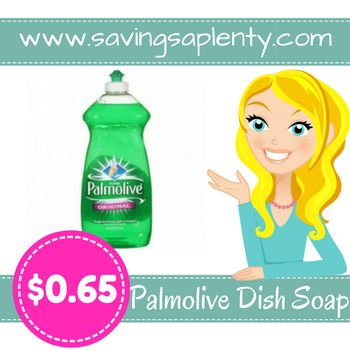 Palmolive Dish Soap ONLY $0.65 at Dollar General!   Palmolive Dish Soap ONLY $0.65 at Dollar General! Is your stockpile running low on dish soap? RUN on over to Dollar General and grab some more! Right now you can scorePalmolive Dish Soap for ONLY $0.65! Check out the deal:   Buy (1) Palmolive Dish Soap 16 oz for $1.00 Use one $0.25/1 ... http://www.savingsaplenty.com/palmolive-dish-soap/