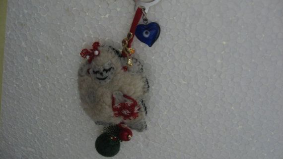 wool sheep beg charmchristmas ornament or happy sheep by CiciByMuy, $7.50
