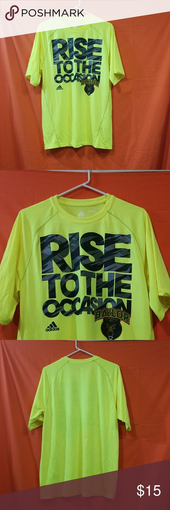 """Size Small Lime green Baylor tee Lime green, black and gray Size small, excellent used condition only worn a few times. """"Rise to the Occasion"""" Baylor University. Short sleeve. Climatelite #adidas #baylor #bayloruniversity #college #limegreen adidas Shirts Tees - Short Sleeve"""