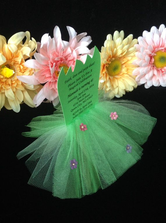 Tinkerbell Inspired Tutu Invitation Set of 8 by ThePolkaDottedRoom