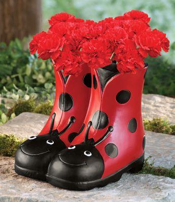 Ladybug Rain Boots Decorative Garden Planter