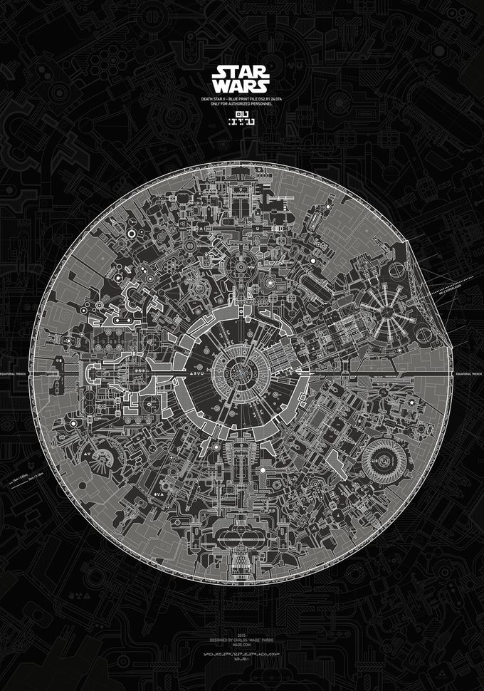 The first Death Star blueprints are some of the most important items in the history of Star Wars. It was those plans, inside R2-D2, that brought Luke Skywalker out of obscurity and ultimately ushered in the Return of the Jedi. Now you can be R2, and hold onto the plans to Death Star II. Artist Carlos Pardo has spent the last two years designing an absolutely stunning poster of the Death Star II blueprints,