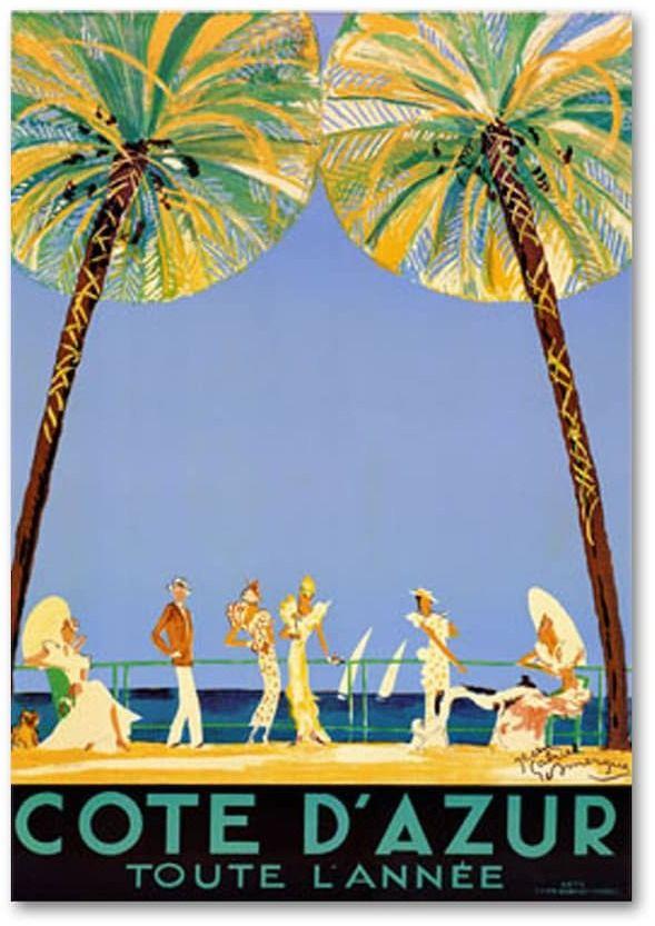 """Cote D'Azur"" by Jean Dumergue Canvas Wall Art – Margrit Bernard"