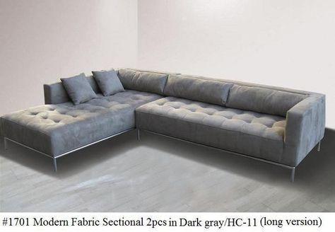 2PC Fabric Modern tufted Sectional Sofa #1701 Dark gray (Large version) #Modern