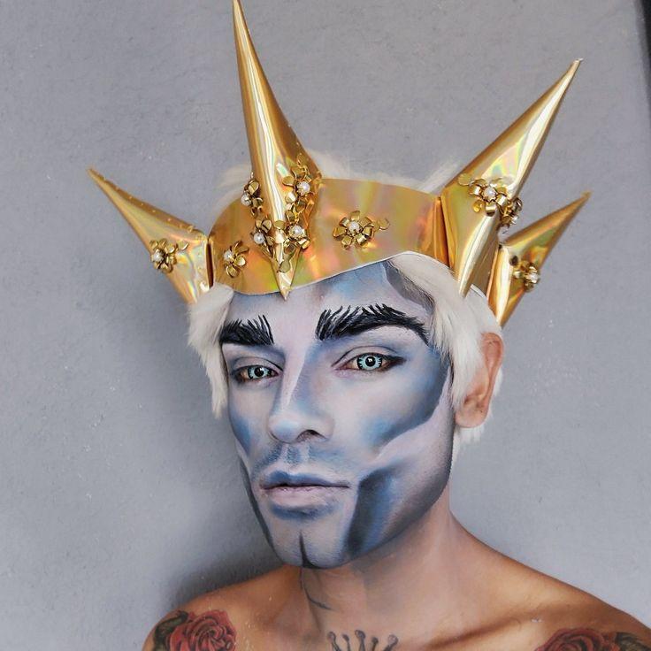 Makeup Inspo, Makeup Art, Makeup Inspiration, Princes Makeup, Drag King Makeup, Warrior Makeup, Glitter Beards, King Outfit, Kawaii Makeup