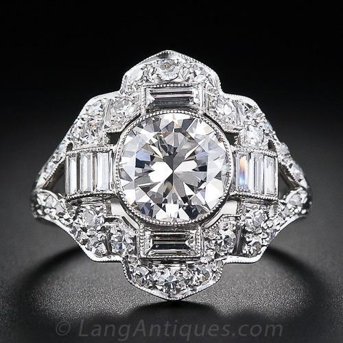 Art Deco Anillo de diamante, ca. 1930