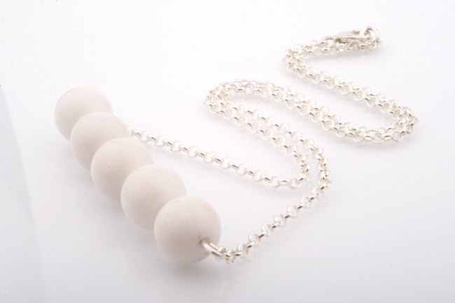 White Mountain Jade Bar Necklace. White and Silver Necklace.