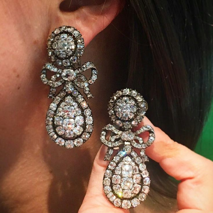 Dating from 1800, these Silver and Diamond Pendant-Earrings were designed to elongate and counterbalance the extreme height of ladies hairstyles of the day. Today, they are very rare, having survived more than 200 years of changing style and taste. These earrings are included in our upcoming sale of Magnificent Jewels in #NYC. #SothebysJewels