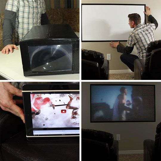 The DIY $5 Laptop, Tablet, or Smartphone Home Theater Projector WonderHowTo | Apartment Therapy  I kinda want to try it, but the picture quality looks terrible.