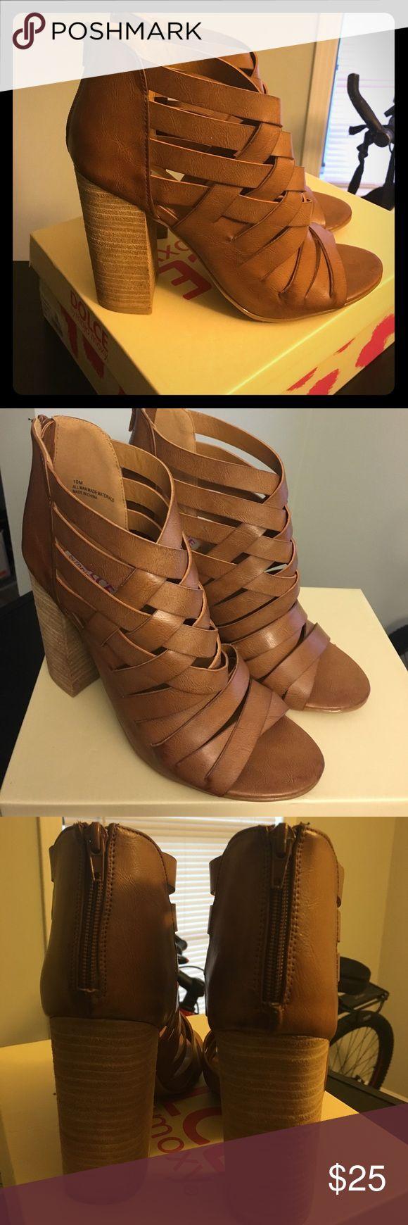 🆕 Dolce by Mojo Moxy Dakota Heeled Sandals🆕 New in box. Size 10. Dakota style name. Cognac color. Strappy. Zip up back. Mojo Moxy Shoes Sandals