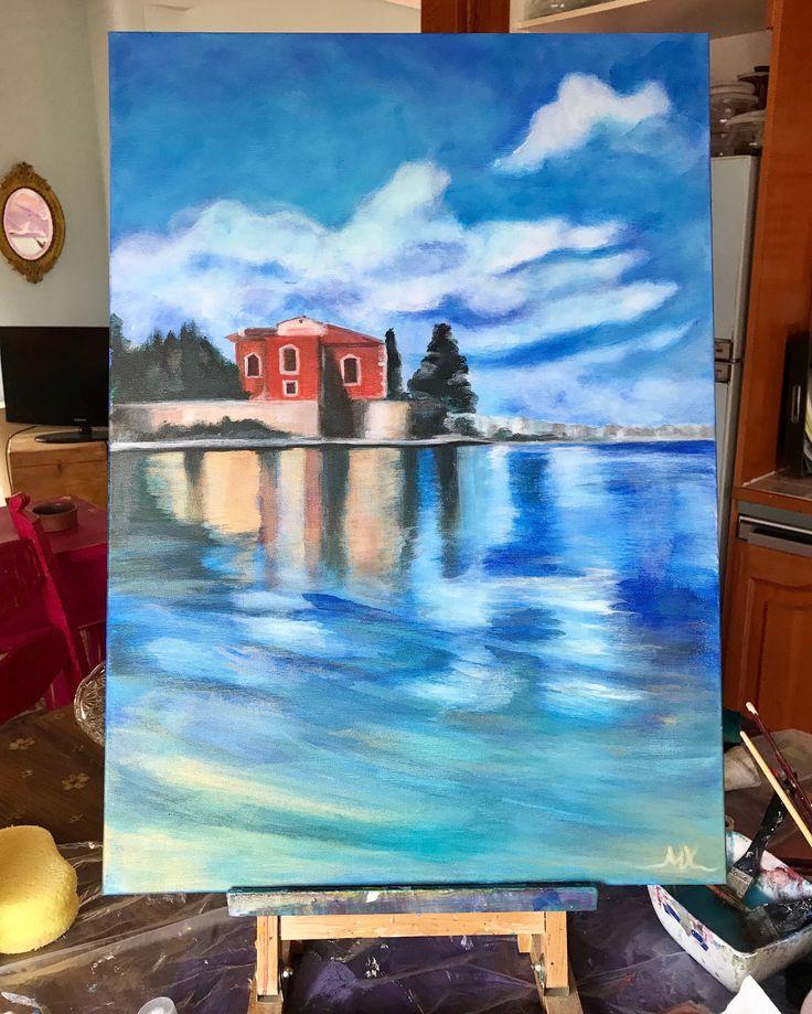 Acrylic painting (50/70) Greece /sky ,sea,colors  Χαλκίδα ,το κόκκινο σπίτι