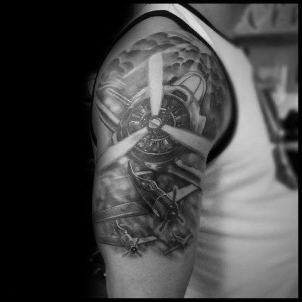 50 Propeller Tattoo Ideas For Men Bladed Fan Designs Tattoos