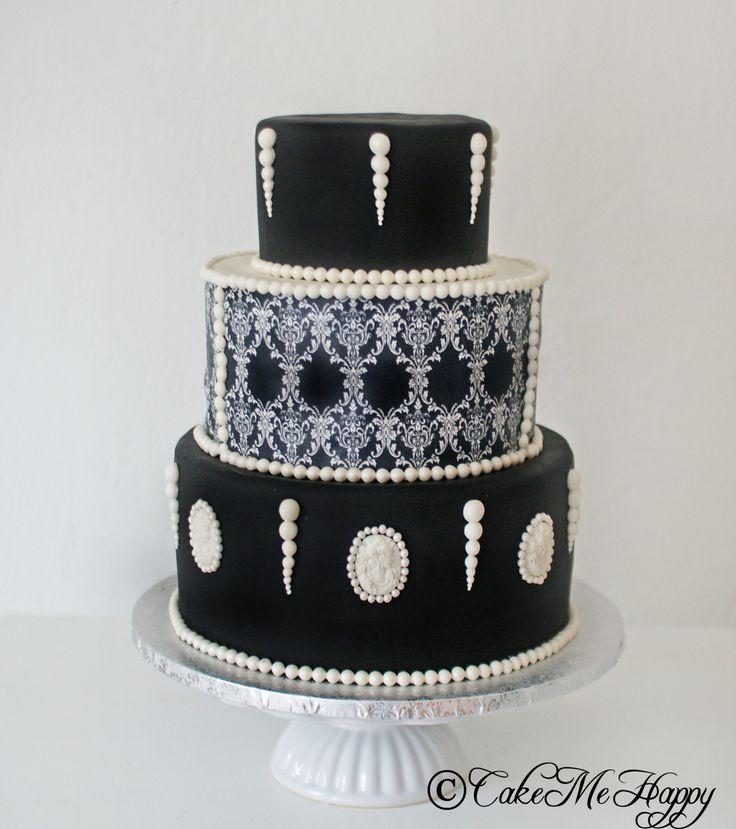 Bröllopstårta svart vit