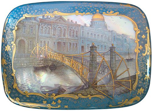 Sergey Kozlov, Fedoskino lacquer box, The bridge of post office, 1999