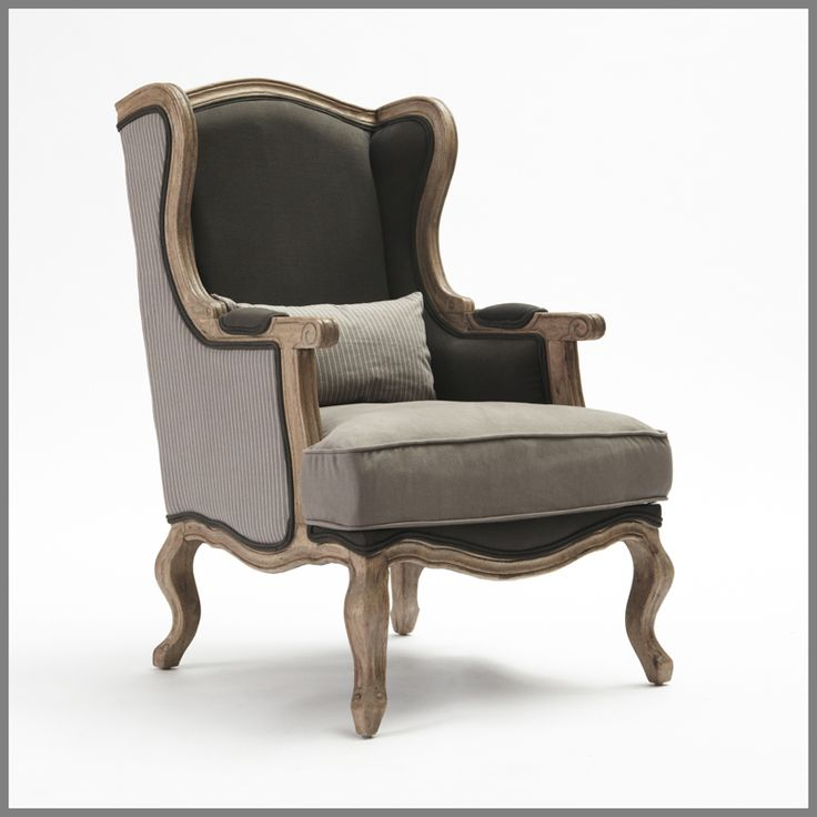 Classic and sophisticated, the Striped Bergere Chair blends traditional design features with smart linen tailoring in a palette of brown, white and grey taupe. Retain the masculine aesthetic with trunk furniture, bold lighting and industrial accents, using chocolate or antique white as a paint palette. Use silver in accessories.