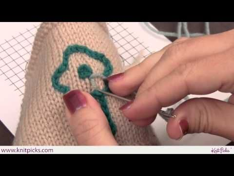How to do Satin Stitch embroidery on Knitting. Can use to add names, motifs, ...