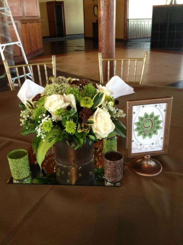 Olive green, Brown and cream center pieces :  wedding brown flowers green inspiration ivory reception Center Pieces