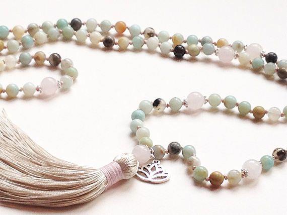Noués mala 108 mala collier • noués perles de prière • pompon collier Amazonite collier Quartz Rose Japa mala • bijou Yoga