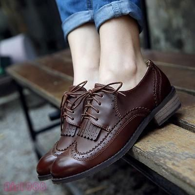 Vintage Womens Low Heels Tassels Wingtip Brogues Lace Up Oxford Shoes Casual New – lovely sandals for all girls in the world