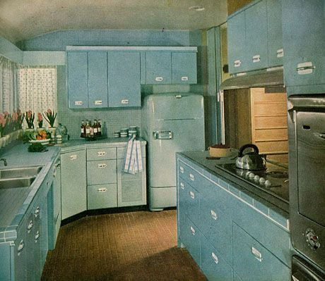 Blue refrigerator, yes please. - May 1951 issue of House Beautiful -