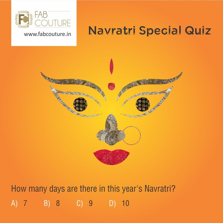 Here is next question of the Navratri quiz brought to you by Fab Couture team.So stay tuned, keep answeringand sharing. Don't miss a chance to win the exciting prize from Fab Couture!. Good Luck! #FabCouture#LuckyDraw#Contest#DesignerDresses#Fabric#Fashion#DesignerWear#ModernWomen#Embroidered#WeddingFashion#WesternLook#affordablefashion#GreatDesignsStartwithGreatFabric