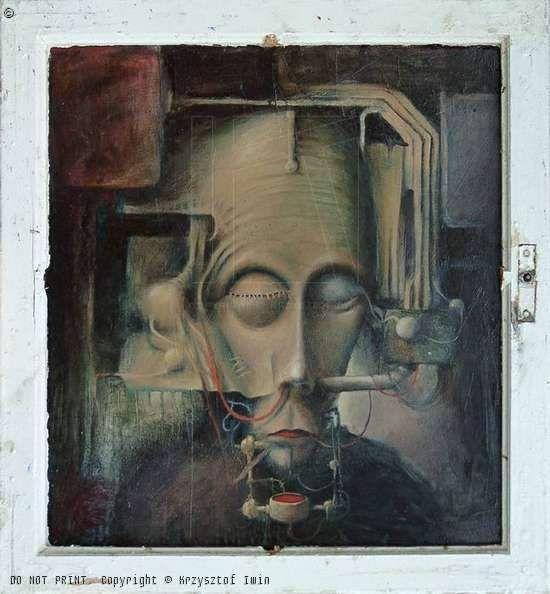 KRZYSZTOF IWIN - PIERWSZY POSIłEK (olej płyta 70x70cm (2000) )