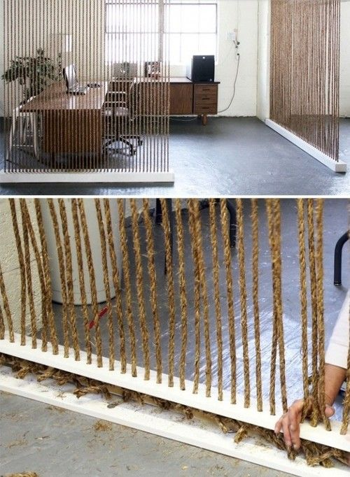 homedesigning:  Room Dividers & Partitions, I did something similar to this using a Navajo loom that I made, using tree trunks and wool.