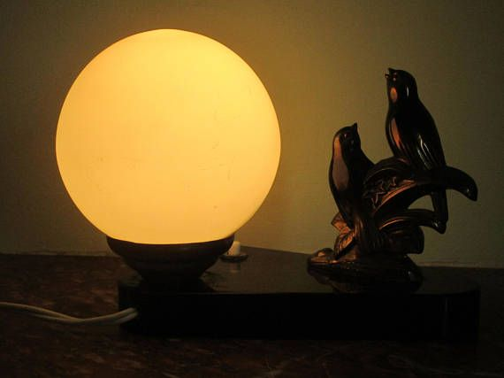 SIGNED TEDD  French Art Deco Two Birds Lamp  Bird Lamp