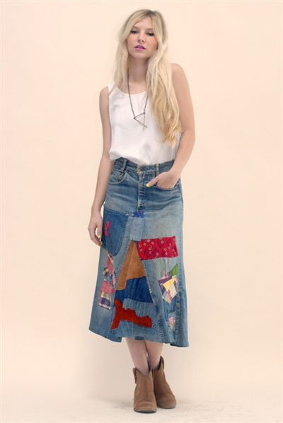 New Bohemia Patchwork Denim Skirt