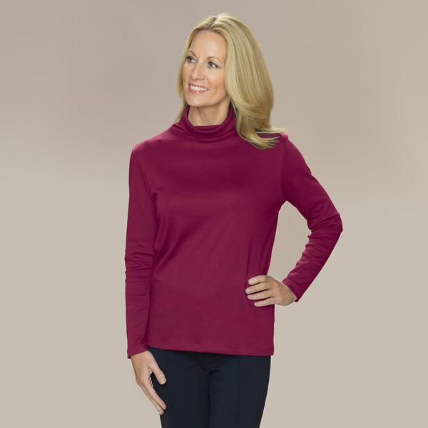 Classic fit roll neck top with long sleeves.   100% silky soft Pima Cotton  Save