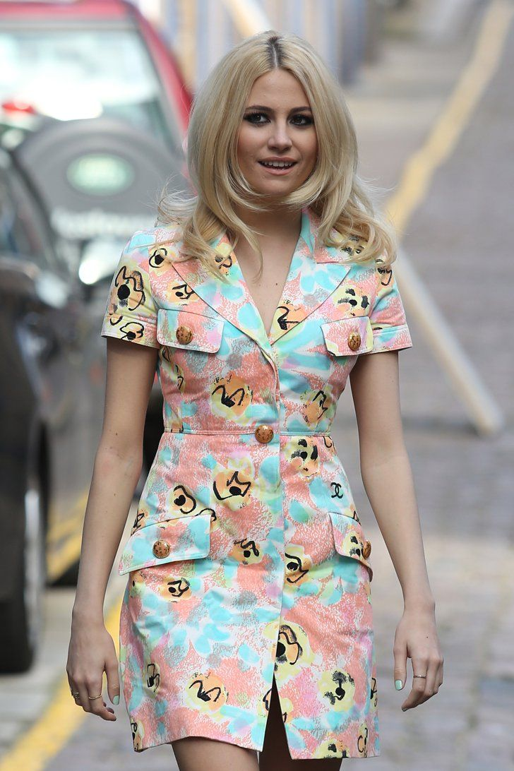 Pin for Later: Can You Top Pixie Lott's Most Extreme 2014 Fashion Moments?  Heading to the studio to record a Sport Relief charity song, Pixie picked a '60s-inspired button-down dress.