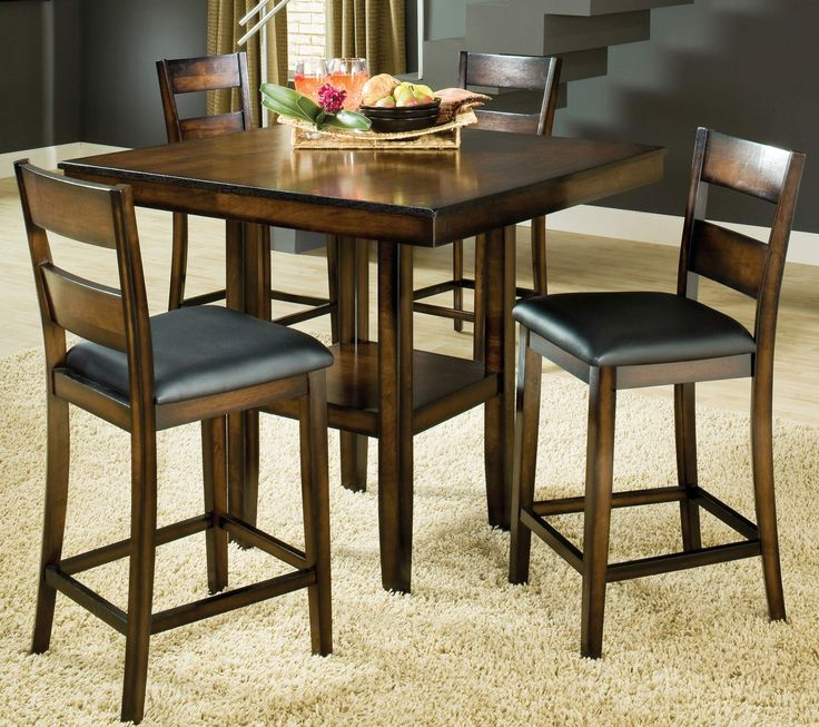 Clarion 5-Piece Square Pedestal Pub Table Set by Bernards - Home Gallery Stores