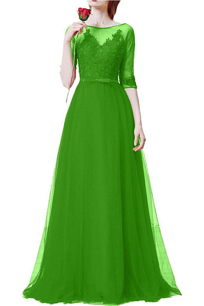 Charm Bridal 1/2 Long Sleeve Red Women Wedding Prom Dress for Bride with Zip -17W-Apple Green