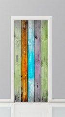 Deursticker planken gekleurd   deurstickers