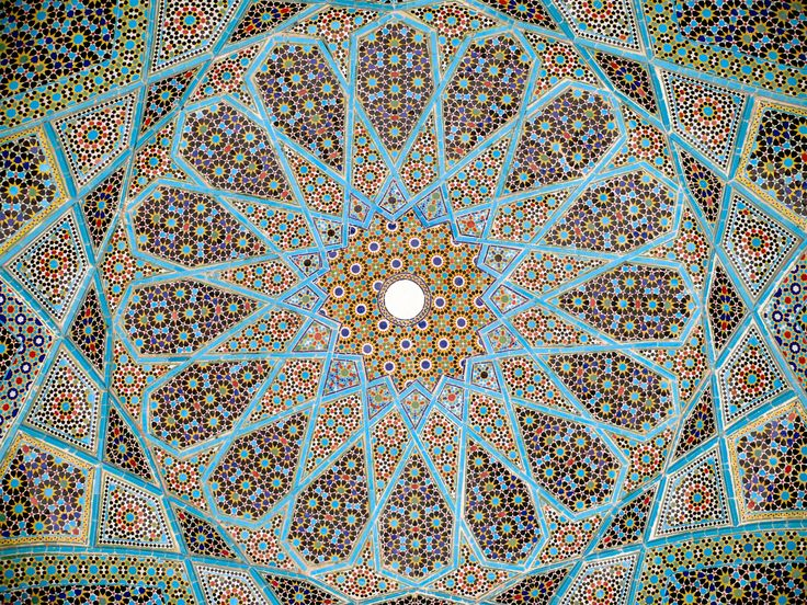 Islamic religious art is decorated with many geometric or plant-like patterns.Objects in the art are decorated so that there are little human forms in them. Islamic art is different from Christian art, because Islamic art is centered around everyday objects.~lfogarty