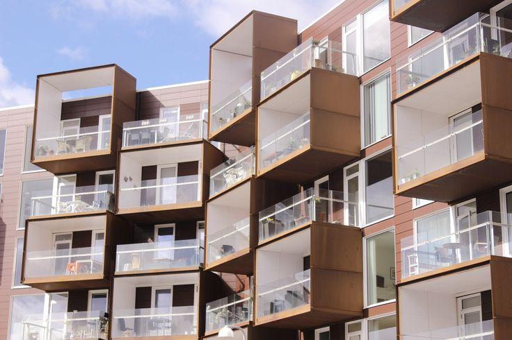 Residential building, curtain balcony, Vejle, Denmark