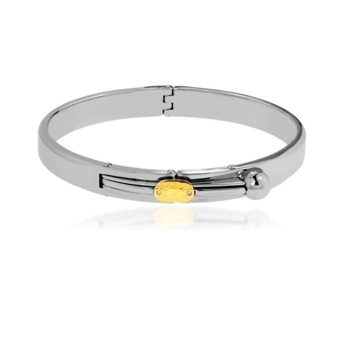 This stainless steel bracelet comes with 18k yellow gold and diamonds logo. $405.