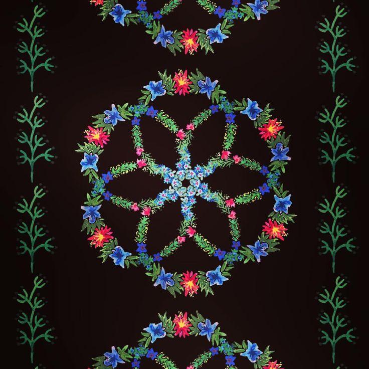 pattern design, illustration, wrapping paper, Eva Lechner, botanical pattern, floral, folk pattern