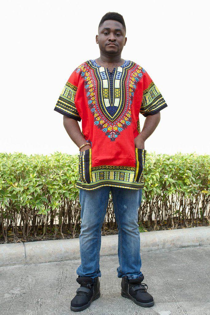 Mens African Dashiki Shirt Vintage kaftan Tribal Print Red