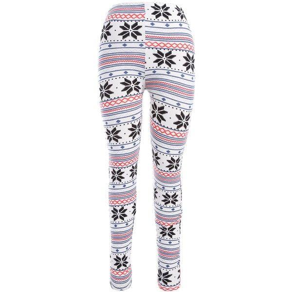 Snowflake Print Christmas Leggings (775 PHP) ❤ liked on Polyvore featuring pants, leggings, christmas leggings, snowflake leggings, white trousers, christmas pants and legging pants