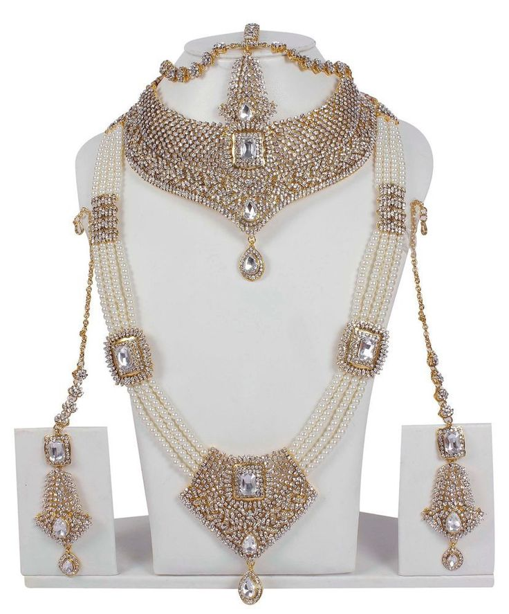 5112 Indian Bollywood Style Fashion Gold Plated Bridal Jewelry Necklace Set #MUCHMORE