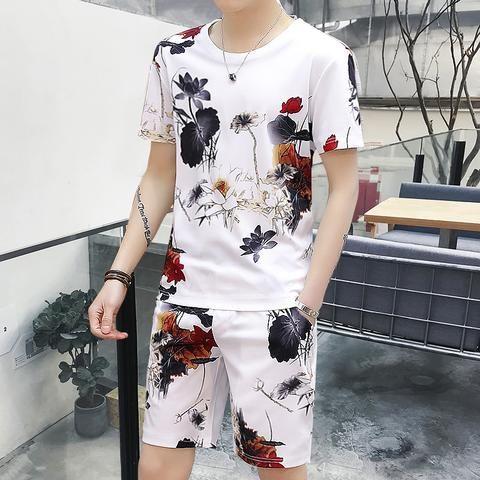dc99e23af 2018 mens printing short sets summer track men set clothing short sleeved t-shirt  two piece Korean leisure suit tracksuit