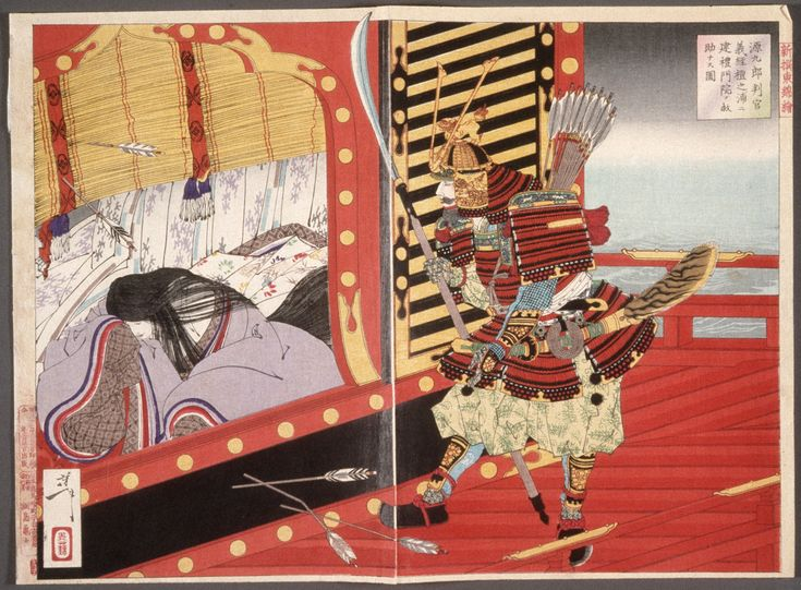 "This picture depicts a scene in the battle of Dannoura. The women on the left is Taira no Tokuko, who is the daughter of Taira no Kiyomori and the mother of the Emperor Antoku. The man on the right is Minamoto no Yoshitsune. During the battle, after the Emperor Antoku committed suicide, Tokuko tried to suicide as well, but she did not die because ""she was rescued from the sea with a rake by the lieutenant of the Right Horse Bureau Gengo, who was Yoshitsune's follower."" (Azuma Kagami)…"