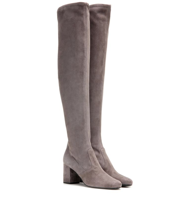 Saint Laurent BB 70 over-the-knee suede boots Grey                 $169.00